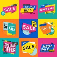 Försäljningsreklam reklam vektor set