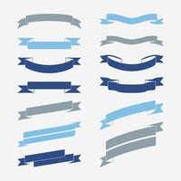Set of blue banner vectors