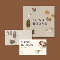 Collection d'affaires de design de champignons