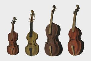 A collection of antique violin, viola, cello and more from Encyclopedia Londinensis; or Universal Dictionary of Arts, Sciences and Literature (1810). Digitally enhanced by rawpixel.