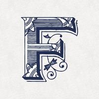Letra maiúscula F estilo de tipografia vintage