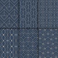 White geometric seamless patterns set on blue background