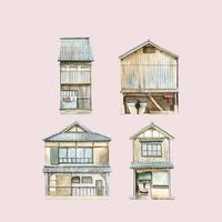 Case di Funaya nel vettore del Giappone della prefettura di Kyoto