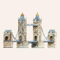 The London Tower Bridge painted by watercolor