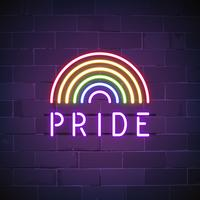 Rainbow pride neon sign vector