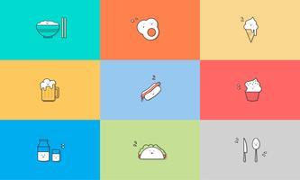 Ilustração, de, alimento, ícones, jogo
