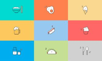 Illustration von Lebensmittelikonen eingestellt vektor