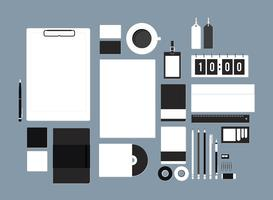 Set of stationery on workspace illustration