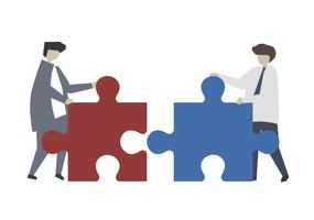 Teamwork connecting jigsaw puzzle piece