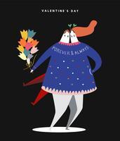 Ilustración heterosexual feliz del concepto del día de tarjeta del día de San Valentín
