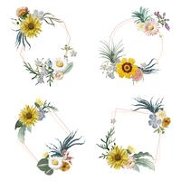 Insignes encadrés de fleurs