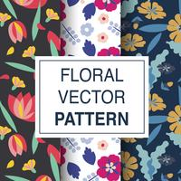 Set of floral vector patterns