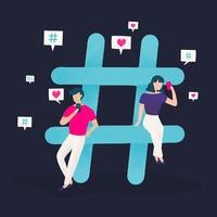 Users with a hashtag vector
