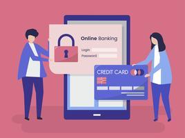 Caratteri della gente ed illustrazione di concetto di sicurezza di attività bancarie online