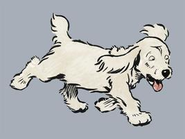 The White Puppy Book by Cecil Aldin (1910), a white dog 'Rags' running emotionally distressed. Digitally enhanced by rawpixel.