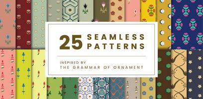 Set of 25 vintage patterns inspired by The Grammar of Ornament