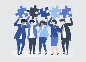 Personaje de gente de negocios sosteniendo rompecabezas piezas ilustración