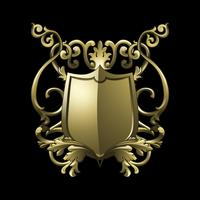 Gyllene barock sköldelement vektor