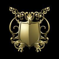 Vettore di elementi di scudo barocco dorato