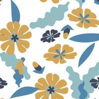 Modello di foglie e fiori senza soluzione di continuità