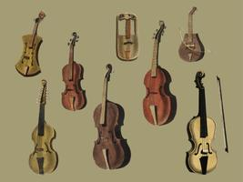 Musik (1850) published in Copenhagen, a vintage illustration of a violin, classical guitar and flute variants. Digitally enhanced by rawpixel.