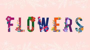 Vector de letras con dibujos florales