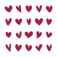 Collection of illustrated heart icons vector