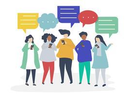 Charaktere von den Leuten, die durch Smartphoneabbildung plaudern