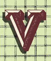 Vintage-Typografieart des Großbuchstaben V
