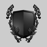 Vetor de elementos de escudo barroco preto