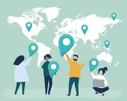 Charaktere von Leuten mit Karten- und GPS-Markierungsillustration