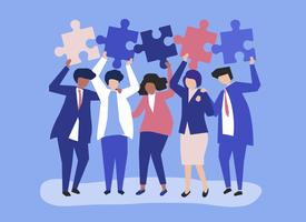 Il carattere della gente di affari che tiene il puzzle collega l'illustrazione