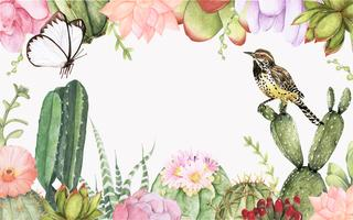 Fond de plantes cactus et plantes succulentes dessinés à la main
