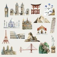 Collection de monuments architecturaux à travers le monde illustration aquarelle