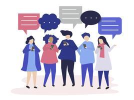 Tecken på personer som chattar genom smartphones illustration