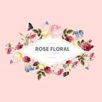 Blommande rosa blommigt ramkort