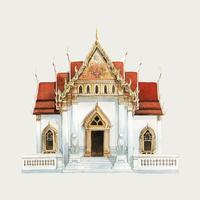 Wat Benjamabhopit temple in Bangkok watercolor illustration