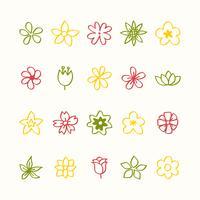 Illustratiereeks bloempictogrammen