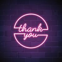 Thank you neon sign vector