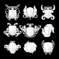 White Baroque shield elements vector set