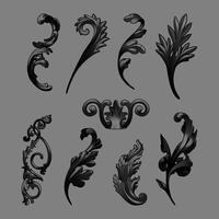 Schwarzer barocker Elementvektorsatz