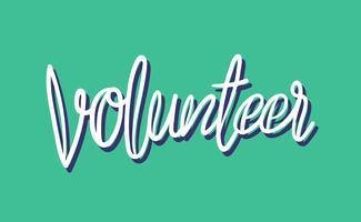Estilo de ilustração de tipografia de voluntários de caligrafia