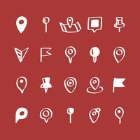 Insieme dell'illustrazione delle icone del perno della mappa