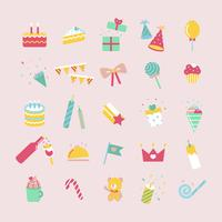 Illustration set of birthday party icons
