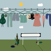 Washed clothes hanging on the clothes line