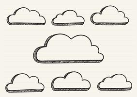 Clouds scribbled on a notepad vector