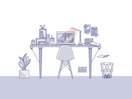 Home office workspace illustration