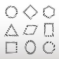 Collection of black and white abstract badge vectors