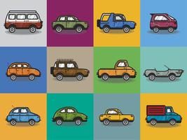 Collection of cars and trucks illustration vector