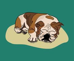 Cão dormindo gráfico ilustração funky